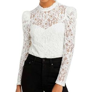 Aqua ivory lace puff sleeve top size Small